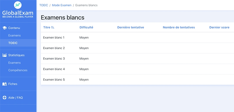 examens blancs global exam avis
